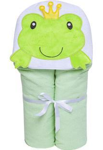 Toalha De Banho Papi Toys- Verde Claro & Branca- 70Xpapi