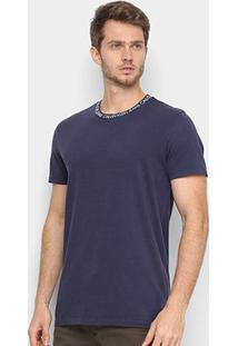Camiseta Calvin Klein Logo Gola Masculina - Masculino-Marinho