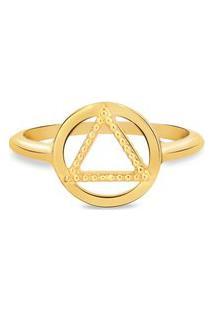 Anel Life Enigma Triângulo Com Banho Ouro Amarelo