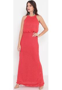 Vestido Longo Em Tricô- Vermelho- Malweemalwee