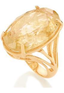 Anel Solitário Com Cristal E Laterais Vazadas Rommanel - Feminino-Dourado