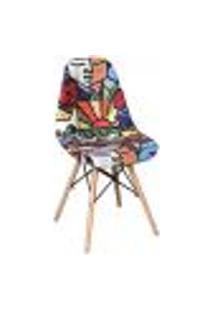 Cadeira Eiffel Charles Eames Estofada Arte Estampada F01 Base Madeira - Mpozenato