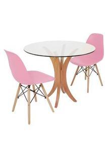 Conjunto Mesa De Jantar Tampo De Vidro 90Cm Com 2 Cadeiras Eiffel - Rosa