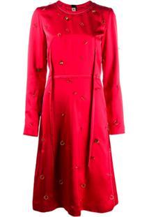 Marni Vestido Midi Com Aplicações Metálicas - Vermelho