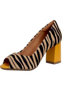 Peep Toe Laura Prado Confort Zebra Animal Print