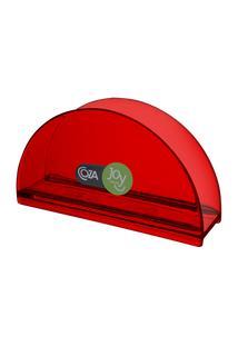 Porta-Guardanapos Redondo 13,7 X 6 X 10 Cm Vermelho Transparente Coza