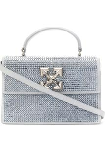 Off-White Crystal Lux Joy Crossbody Bag - Cinza