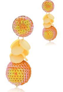 Brinco Le Diamond Paet㪠Com Pingente Confete Laranja - Laranja - Feminino - Dafiti