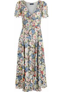 Polo Ralph Lauren Vestido Longo Com Mangas Curtas E Estampa Floral - Neutro
