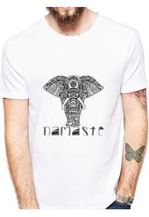 Camiseta Coolest Namastê Elefante Masculina - Masculino-Branco