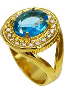 Anel La Madame Co Cristal Turquesa Azul