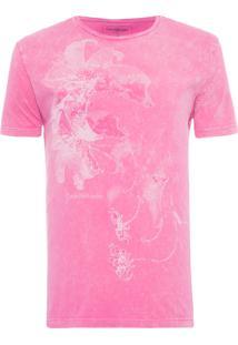 Camiseta Masculina Flor Marmorizado - Rosa