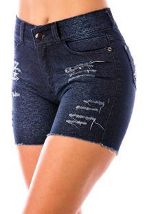 Bermuda Sisal Jeans Meia Coxa Jeans Estampado