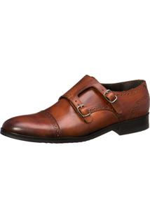 Sapato Malbork Monk Strap Em Couro Whisky 2301 Marrom Amarelado
