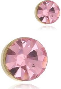 Brinco Le Diamond Ponto De Luz Rosa - Rosa - Feminino - Dafiti