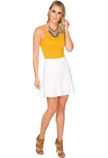 Regata Via Costeira Em Algodão Com Alças Duplas Feminina - Feminino-Amarelo