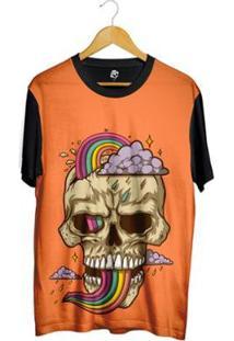 Camiseta Bsc Desenho Caveira Arco Íris Sublimada Masculina - Masculino-Preto