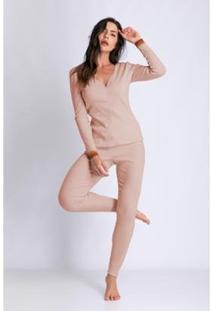 Conjunto De Pijama Acuo Longo Ribana De Algodão Feminino - Feminino-Rosa