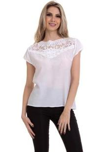 Blusa Crepe Com Renda Feminina - Feminino-Branco