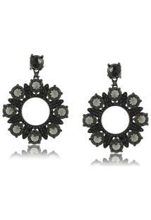 Brinco Viva Jolie Cristal Negro Zircônias Floral Rodio Negro - Tricae