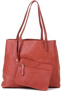 Bolsa Shoestock Shopper Textura Feminina - Feminino-Marrom
