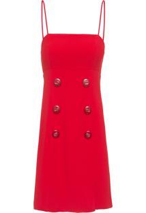 Vestido Tubinho Crepe Botões - Vermelho
