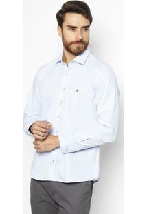 Camisa Slim Fit Xadrez - Azul Claro & Branca - Fio 5Vip Reserva