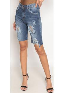 Bermuda Jeans Com Destroyed- Azul Escuro- Tuaregtuareg