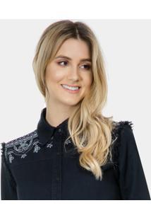 Camisa Jeans Black Com Bordado Preto Reativo - Lez A Lez