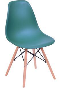 Cadeira Eames Base Madeira E Azul Petróleo