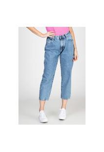 Calça Jeans Bloom Mom Recorte Atrás Delavê