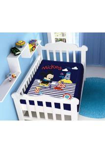 Cobertor Infantil Disney Mickey Praia Barquinho Azul Marinho Jolitex