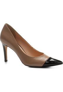 Scarpin Couro Shoestock Salto Alto - Feminino-Bege+Preto