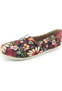 Alpargata Quality Shoes Floral Feminina - Feminino-Preto
