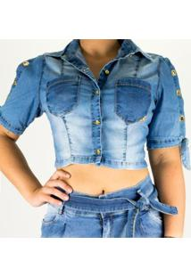 Camisa Cropped Sol Jeans Manga De Amarrar Com Lycra - Feminino-Azul