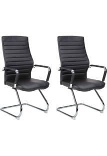Conjunto Com 2 Cadeiras De Escritório Interlocutor Fixas Cleaner Preto