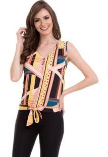Blusa Crepe Amarração Na Cintura Feminina - Feminino-Rosa