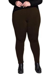 Calça Legging Plus Size Peluciada Térmica Suplex Dicors Feminina - Feminino-Marrom