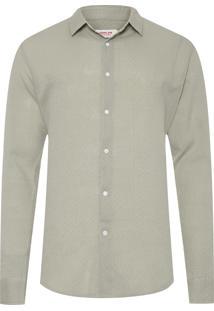 Camisa Masculina Wrinkled Flower Dots - Verde