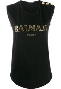 Balmain Blusa Sem Manda Com Logo E Botões Nos Ombros - Preto