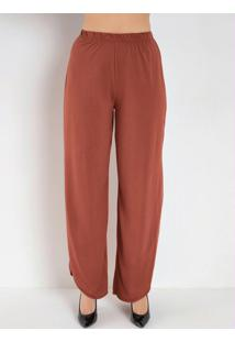 Calça Pantalona Com Fendas Ferrugem