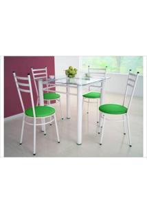 Jogo De Mesa Tulipa Branco Com 4 Cadeiras Com Assento Corino Verde - Marcheli