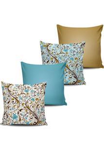 Kit 4 Capas Almofada Floral Azul E Caramelo 45X45Cm - Multicolorido - Dafiti