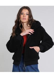 Jaqueta Feminina Em Pelo Com Capuz E Bolsos Preta