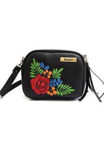 Bolsa Transversal Maria Milão Mini Bag Floral Preta