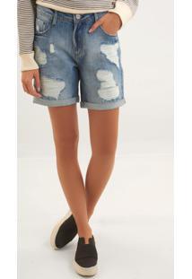 Bermuda Le Lis Blanc Curta Rasgada Blue Jeans Azul Feminina (Média, 40)