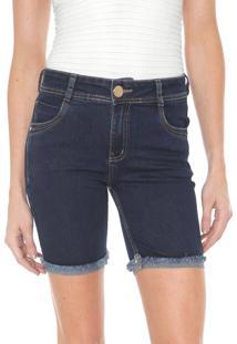 Bermuda Jeans Dimy Reta Camili Azul-Marinho