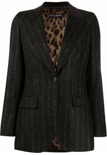 Dolce & Gabbana Blazer Risca De Giz Com Lapelas E Abotoamento Simples - Preto