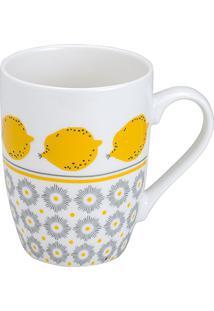 Caneca De Porcelana 330Ml Lemons Line - Bon Gourmet - Branco