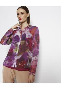 Camisa Floral - Rosa & Roxa- Cotton Colors Extracotton Colors Extra